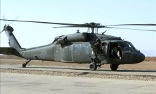 This photograph from September 2003 shows a Black Hawk helicopter about to take off from an airfield in Iraq. EFE