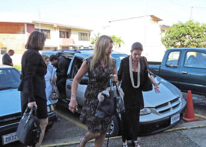 Ann Patton Bender uses a cane  to arrive in court. Source: Carol Vaughn
